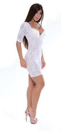 4cc0cb467e Cyclone Lace Bridal Mid-Thigh Arm Control Body Suit