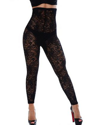 your-contour--Long Legging shapewear-cyclone-lace-high-waist-leggng-black-front-small