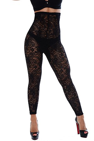 your-contour–Long Legging shapewear-cyclone-lace-high-waist-leggng-black-front-small