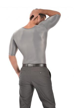 Men's Slimming Undershirt Body Shaper Arm control Shapewear Short Sleeve silver back