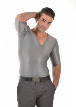 Men's Slimming Undershirt Body Shaper Arm control Shapewear Short Sleeve silver front