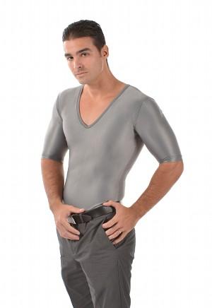 Men's Slimming Undershirt Body Shaper Arm control Shapewear Short Sleeve silver side