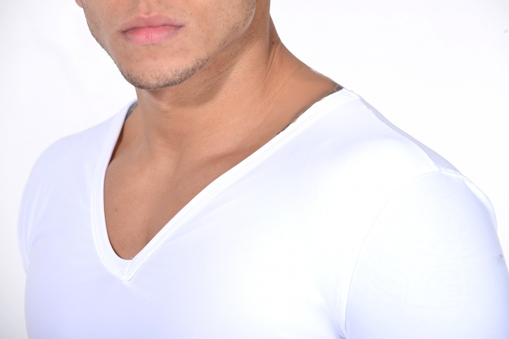 Men's Slimming Undershirt Body Shaper Arm control Shapewear Short Sleeve white shoulder
