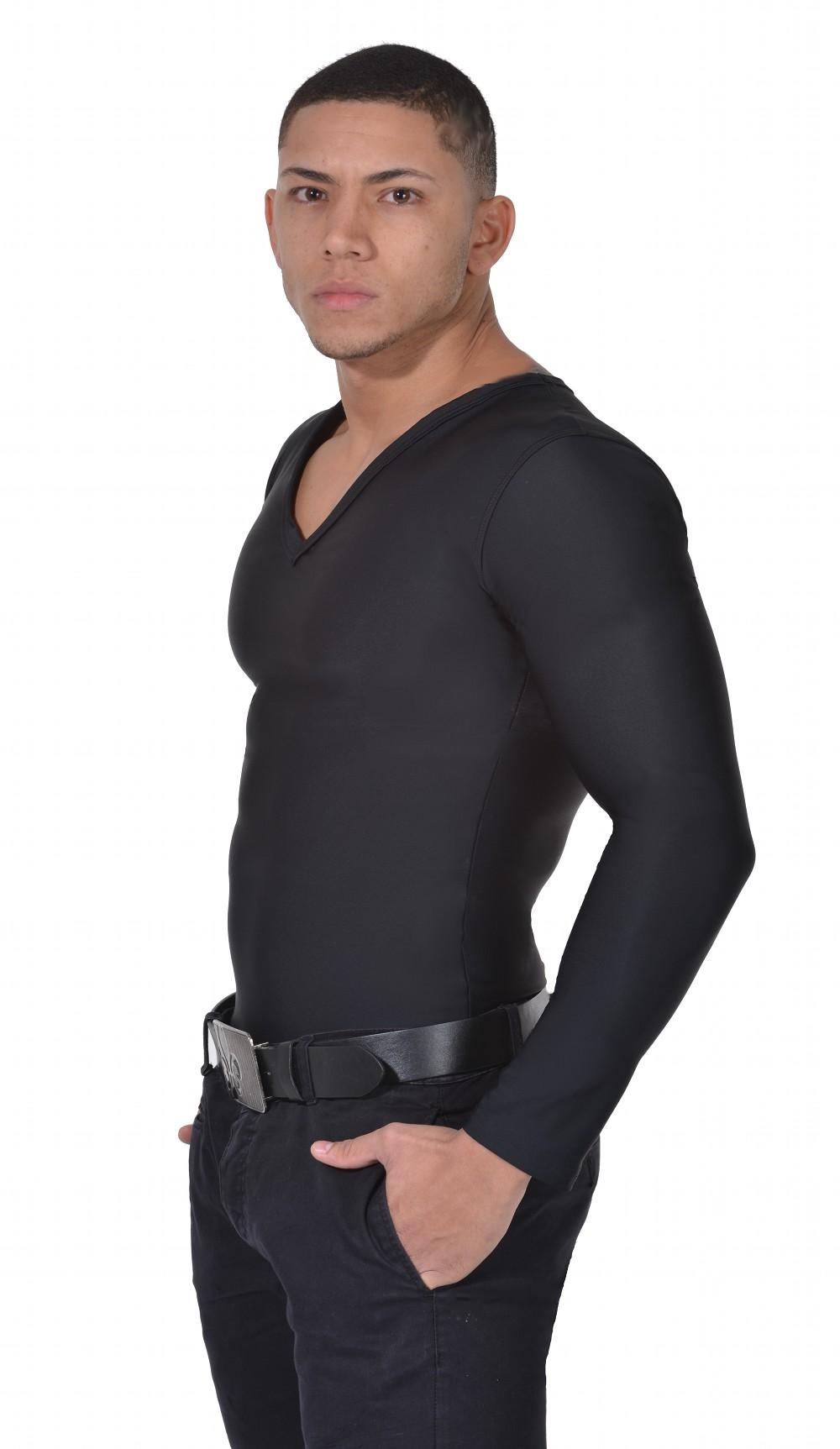Men's Slimming Undershirt Body Shaper Arm control Shapewear Long Sleeve black side