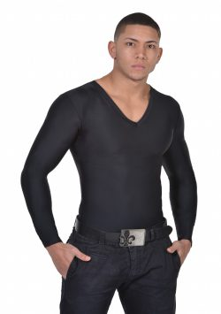 Men's Slimming Undershirt Body Shaper Arm control Shapewear Long Sleeve black front