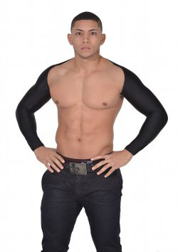 Men's Arm Control Shapewear. Long Sleeve Arm Shaper black front