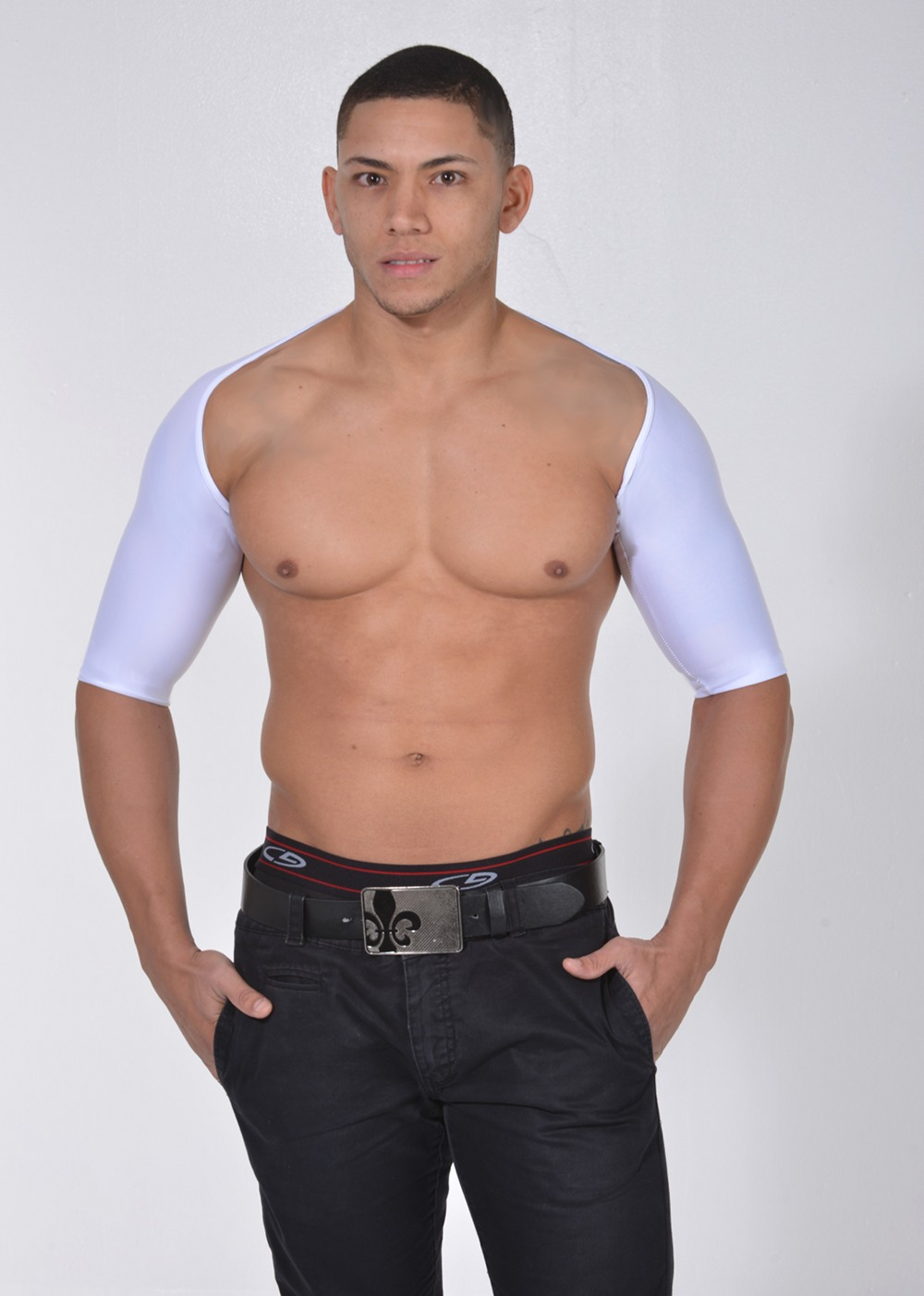 Men's Arm Control Shapewear. Short Sleeve Arm Shaper white front