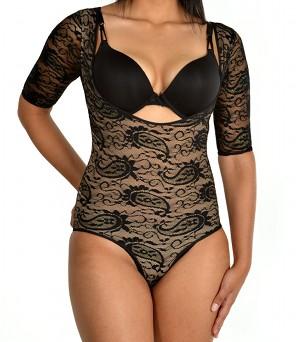 Glamore T-shape Body Briefer Arm Shaper – Short Sleeve black front