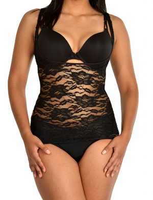 Passion Flower Lace Cami Shaper black front